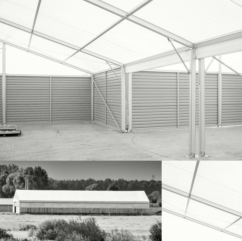 Ściany hali namiotowej